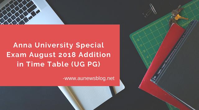 Madhu Mathi Blogs Anna University August 2018 Special Exam Addition