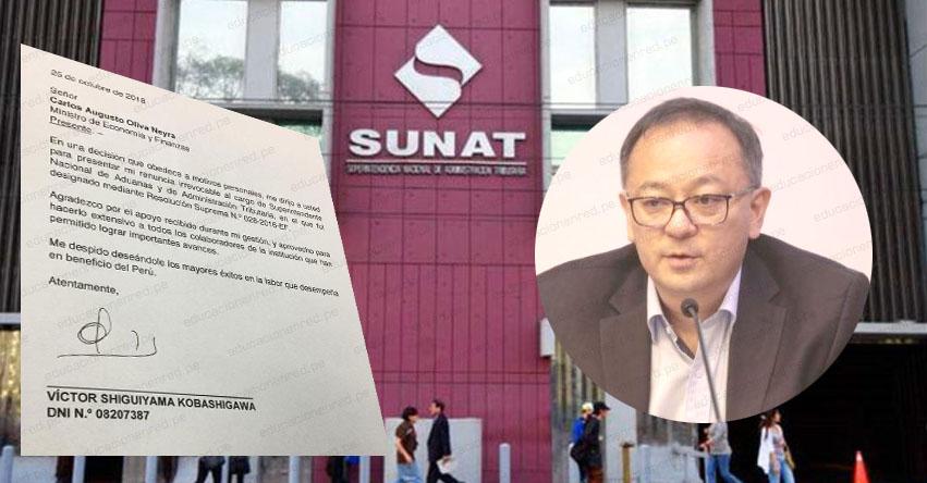 Jefe de la SUNAT, Víctor Shiguiyama presentó su renuncia irrevocable tras ser incluido en investigación a Keiko Fujimori