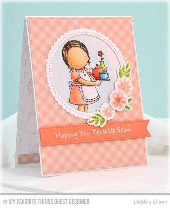 Handmade card from Debbie Olson featuring Min Modern Blooms and Pure Innocence Steeped in Love stamp sets and Die-namics, Stitched Mini Circle Scallop STAX, Stitched Fishtail Flag STAX, and Blueprints 15 Die-namics #mftstamps