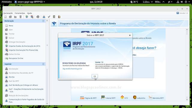 IRPF 2017 executando no openSUSE Tumbleweed com o OpenJDK 8