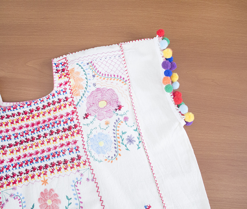 craft challenge faux embroidery tutorial refashion pom pom trim