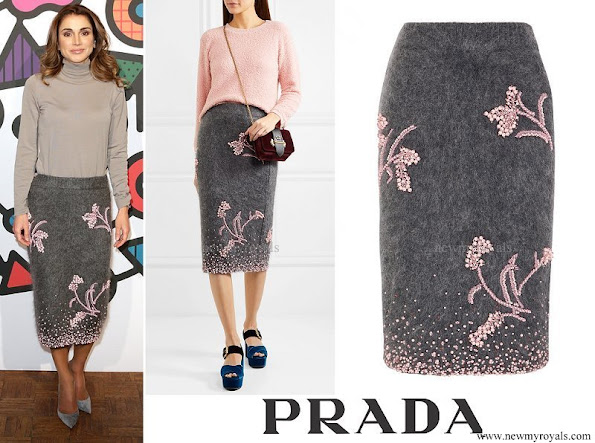 Queen Rania wore PRADA Embellished mohair blend pencil skirt