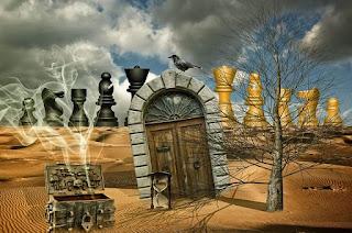 arte deserto com uma porta e varias peças de xadrez