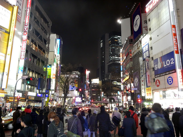 Vista nocturna de Shibuya