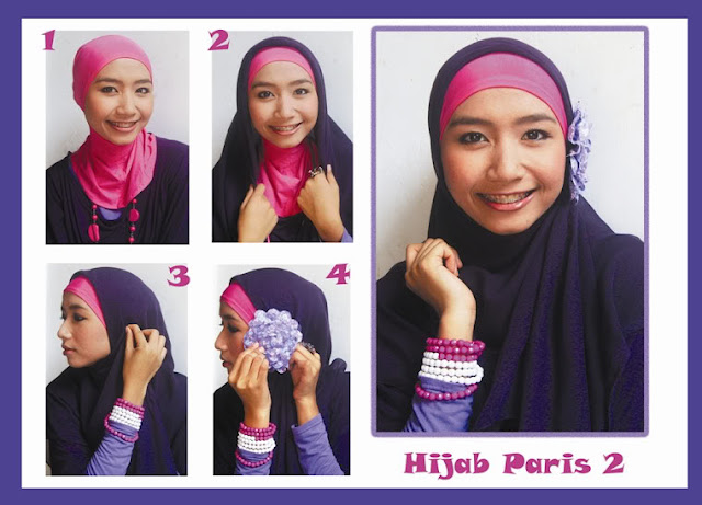 Foto gambar model jilbab paris untuk wajah bulat terbaru 2016 dan cara memakainya