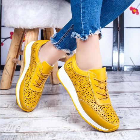 Pantofi dama Piele naturala sport galbeni ieftini de calitate