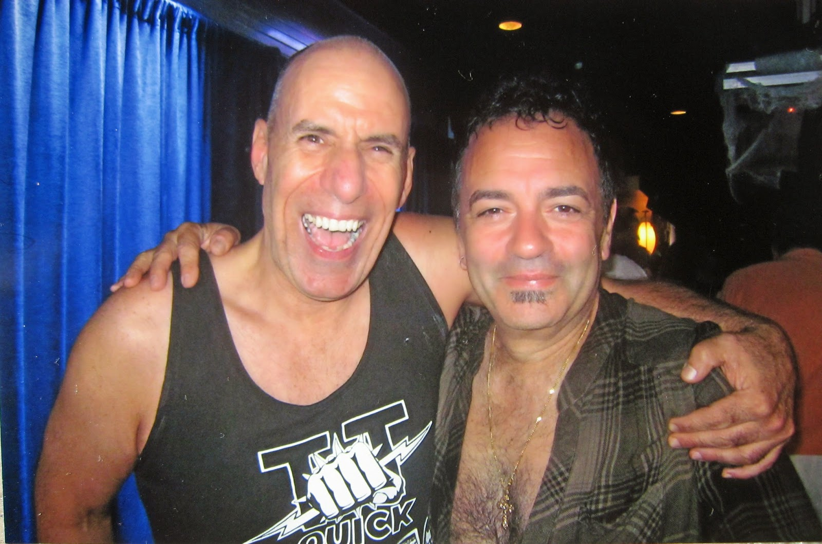 Tommy Mondello with Johnny Sing from Condor after their set... and yes there were many beers! Jenkinson's Circus Circus book release party October 18, 2014