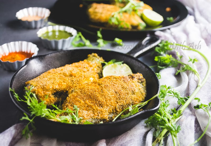 Stuffed Fish Fry Recipe | How To Make Stuffed Fish Semolina / Rava Fry