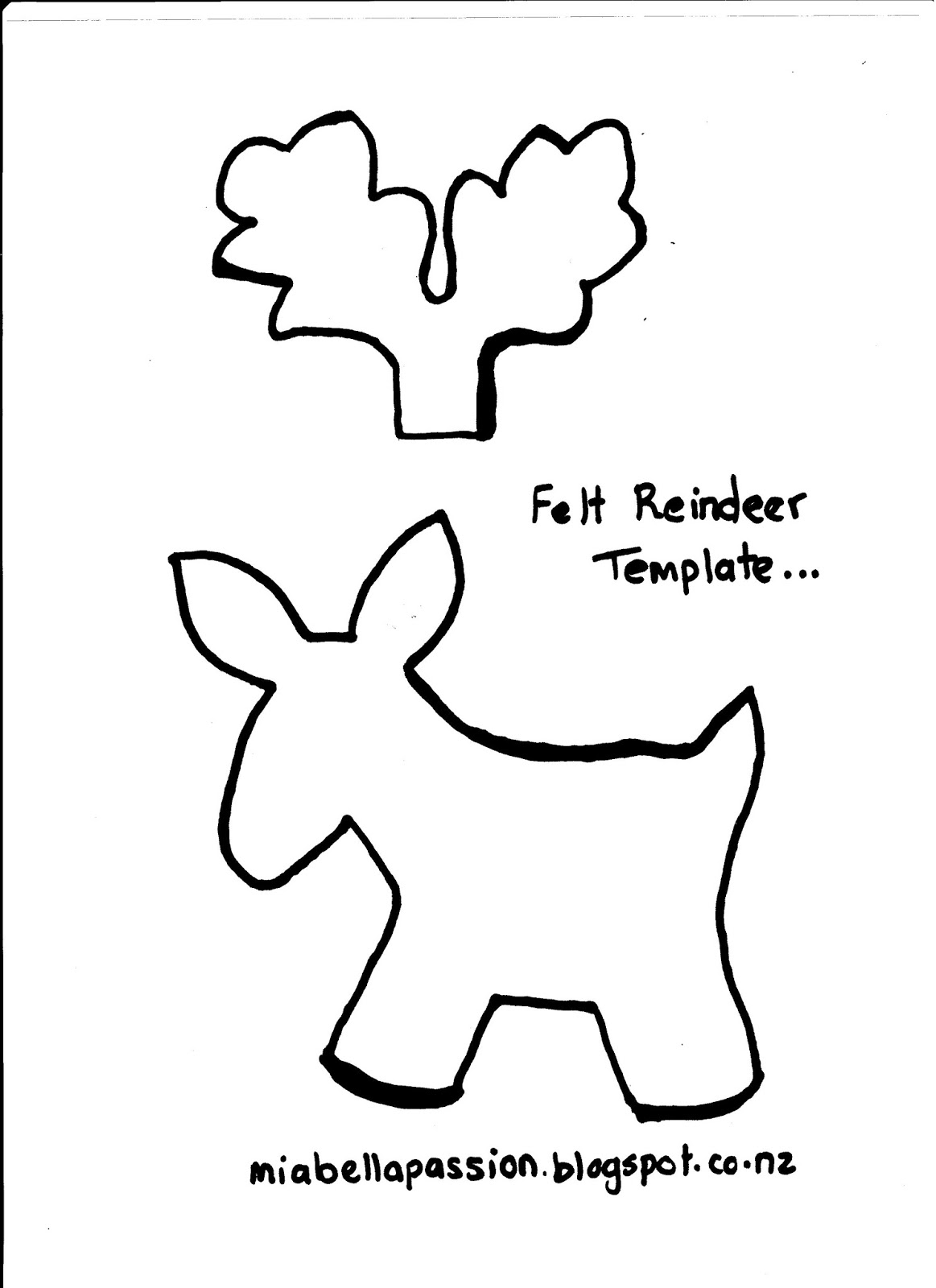 Felt reindeer christmas decorations for Reindeer cut out template