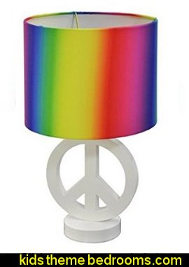 Arctic White Peace Sign Table Lamp with Rainbow Drum Shade