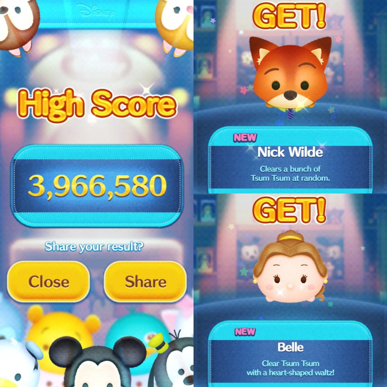 Disney tsum tsum game high score, nick wilde zootopia, belle, beauty and the beast