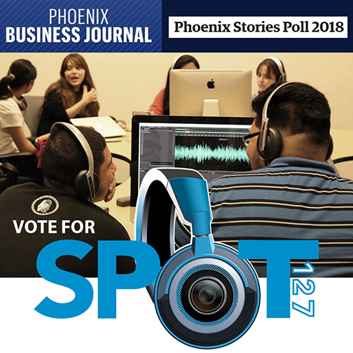 image of SPOT 127 teens working in a studio.  Text: Phoenix Business Journal Phoenix Stories Poll 2018. Vote for SPOT 127.