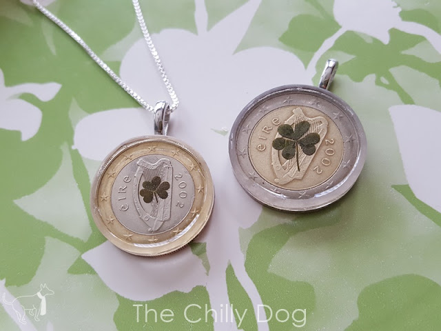 Transform a foreign coin and shamrock into a keepsake necklace