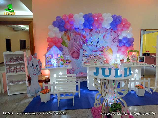 Decoração tema Gata Marie para festa de aniversário infantil - Provençal simples
