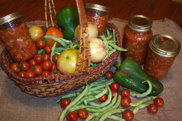 Harvest Bounty: Tomatoes, Green Beans, Peppers, and Bottles of Stewed Tomatoes