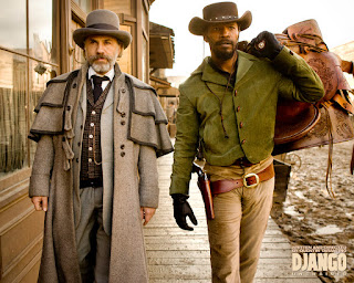 Christoph Waltz and Jamie Foxx as Dr King Schultz and Django in Django Unchained