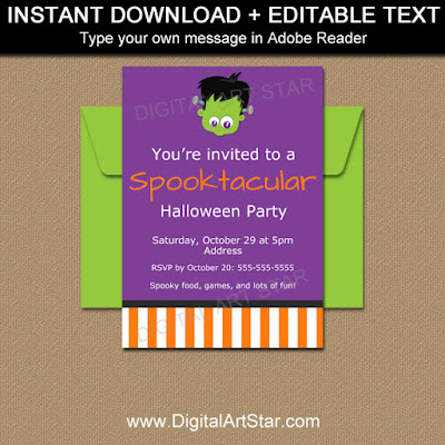 kids halloween invitations with frankenstein