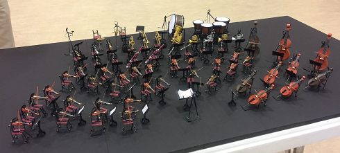 Quilled paper orchestra on display