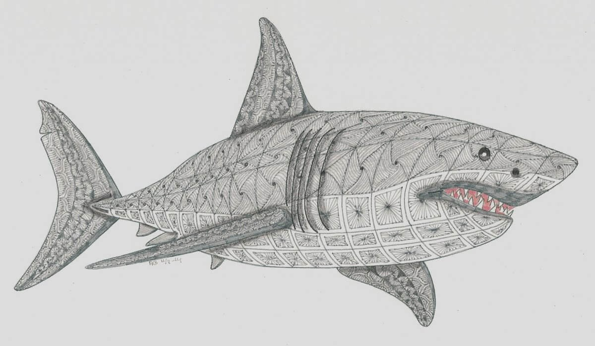 10-Great-White-Shark-Adri-van-Garderen-Animals-Given-the-Zentangle-Treatment-www-designstack-co