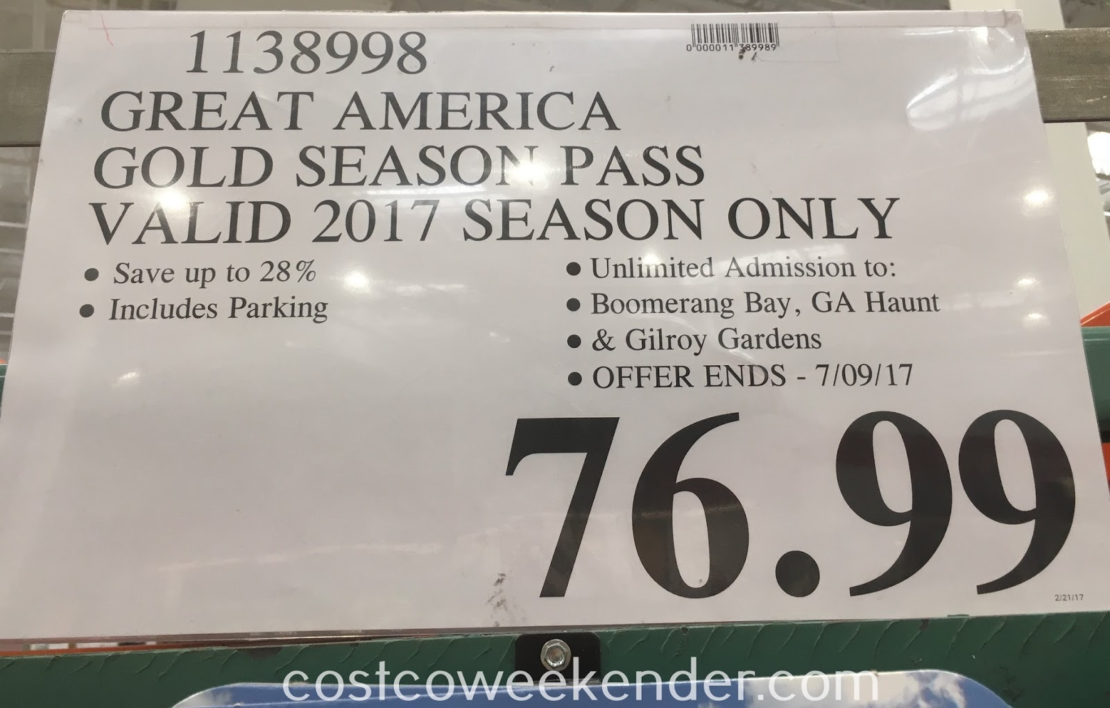 Deal for the 2017 Great America Gold Season Pass at Costco