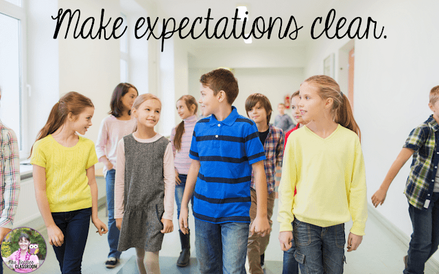 "Kids walking in hallway with text, ""Make expectations clear."""