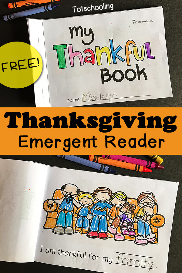 FREE printable Gratitude and Thanksgiving themed emergent reader book to get kids practicing sight words, tracing words, coloring and talking about the things they are thankful for! Great Thanksgiving literacy activity for kindergarten.