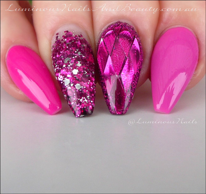Luminous Nails: Fuchsia Ballerina Acrylic & Gel Nails.