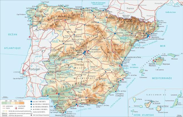 Carte Espagne Topographique.Cartes Topographiques De L Espagne