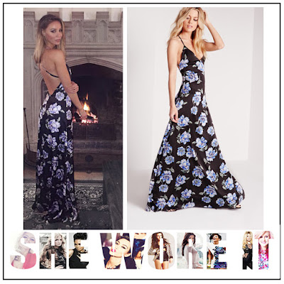 Black, Cross Over Back, Cross Over Straps, Dress, Faux Silk, Floral Print, Green, Lauren Pope, Light Blue, Maxi Dress, Missguided, Sleeveless, The Only Way Is Essex, TOWIE, V-Neck, White,