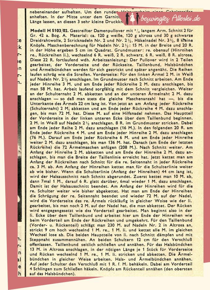 Strickanleitung: Gestreifter Pullover von 1951! || beswingtesallerlei.de