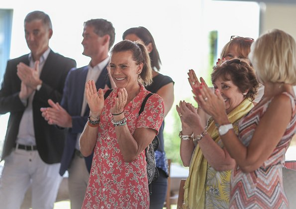 Princess Stéphanie of Monaco visited the House of Life (Maison de Vie) which celebrates 8th anniversary of its establishment. print summer dress