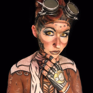 steampunk special fx makeup airship pilot/captain with body paint on face, neck, shoulders, chest and hands. great halloween costume or cartoon or comic book character cosplay idea