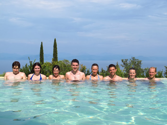 Big group of friends on holiday in Benitses, Corfu, Greece