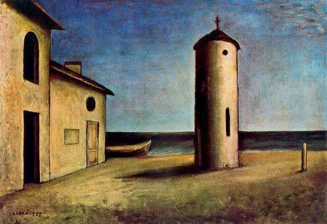 Dipinto periodo metafisico Carlo Carrà, Verso il tramonto
