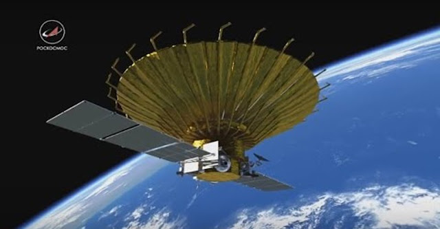 Artist's rendering of Spektr-R in space. Credit: Roscosmos