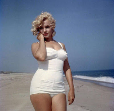 marilyn monroe, marilyn monroe in swimsuit, one piece, vintage, marilyn monroe quote, old-fashioned swimsuit, beach, model, actress, audrey hepburn, photography, you are beyoutiful, beauty inside and out, beautiful, classic, truth, how to be beautiful
