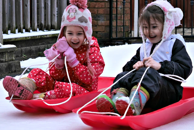 the girls on their sledges
