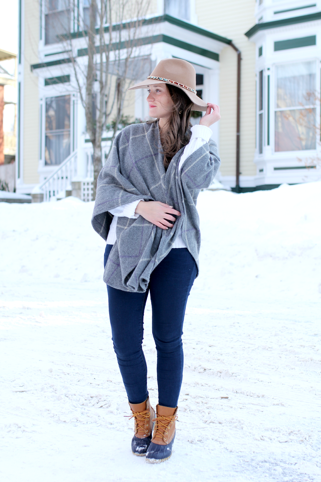 LL Bean Plaid Wrap + Bean Boots
