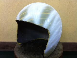 114468110 - カスタムペイント工程  ジェットヘルメット スカル クリアースピニング