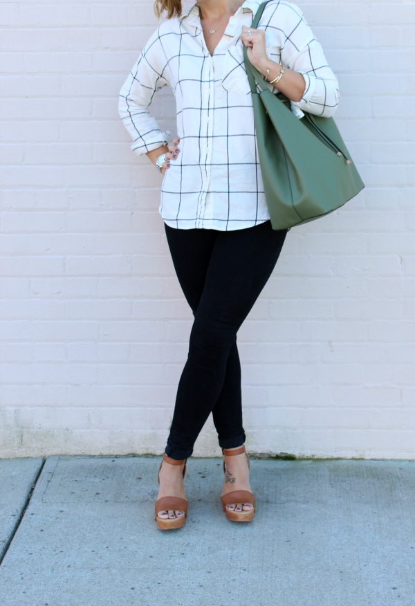 boyfriend plaid shirt, black skinny jeans, fall fashion