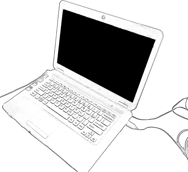 cut out of black and white laptop sketch