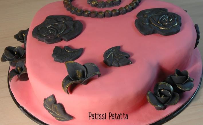 cake design, gâteau 3D, pâte à sucre, gumpaste, fondant, baroque cake, pink and black cake