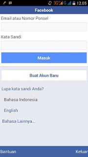 Masuk facebook baru
