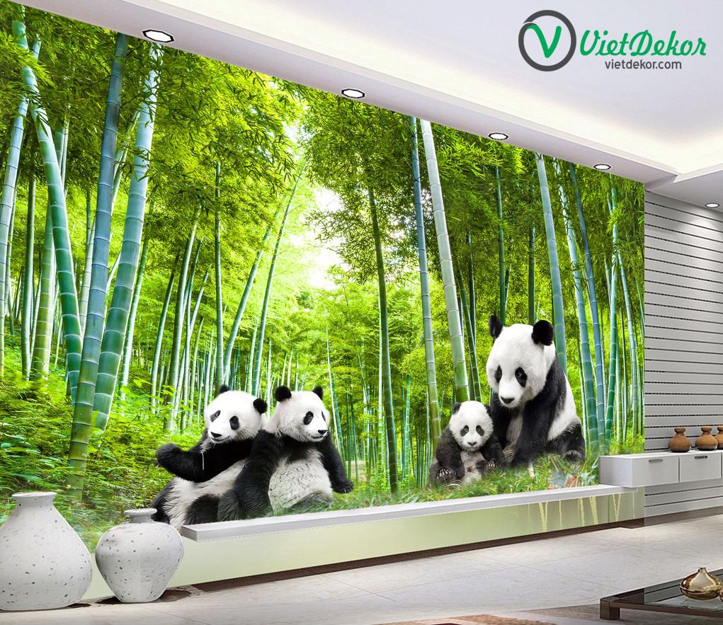 Tranh dán tường 3d phong cảnh rừng trúc và gấu