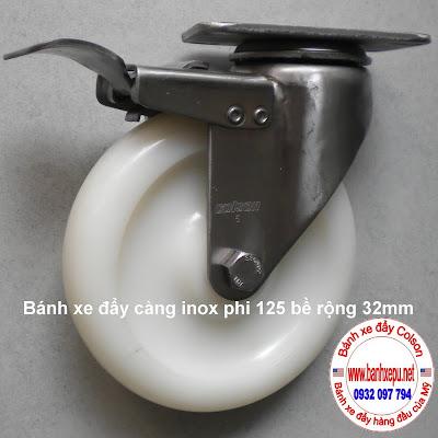 Bánh xe đẩy hàng công nghiệp càng inox 304 colson có khóa www.banhxepu.net