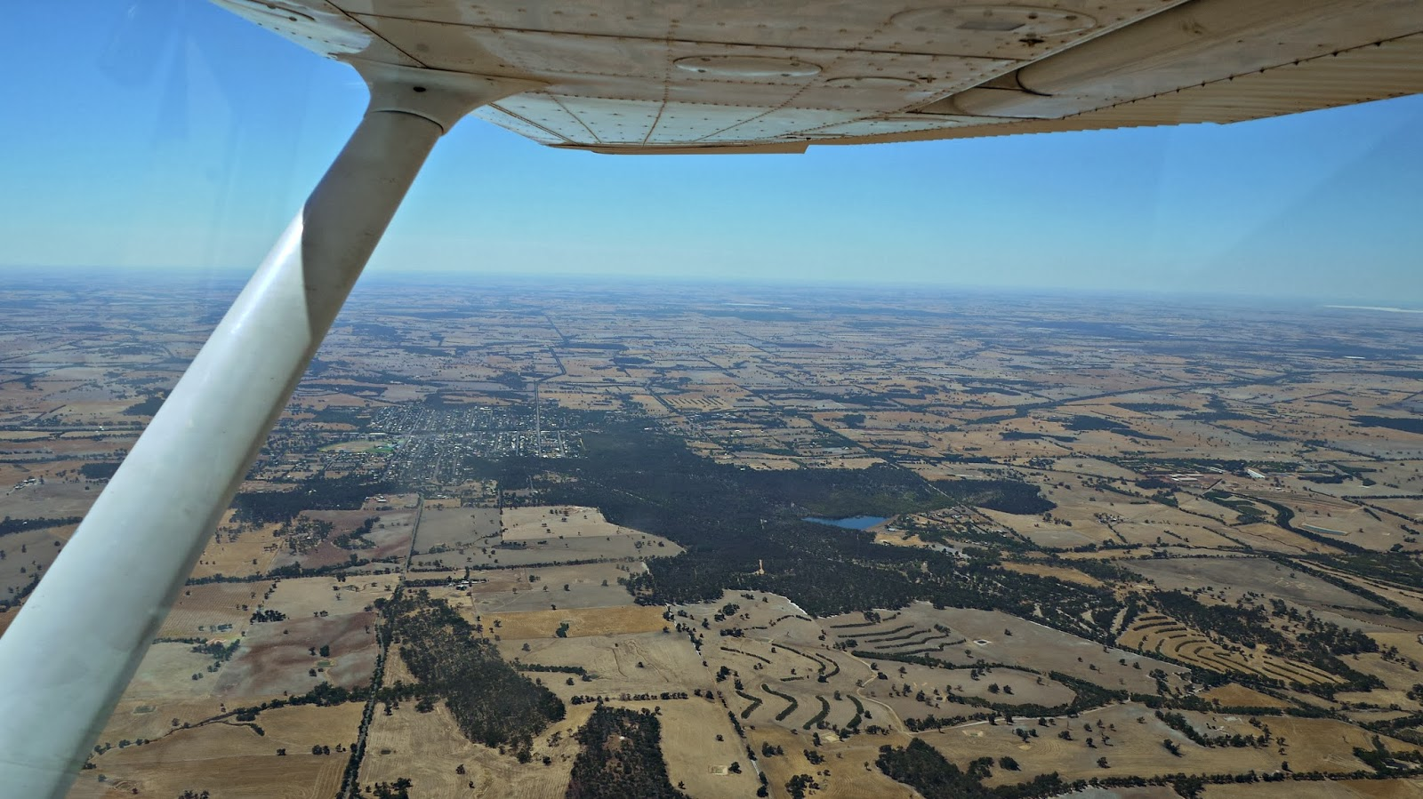 View of Narrogin from small light aircraft
