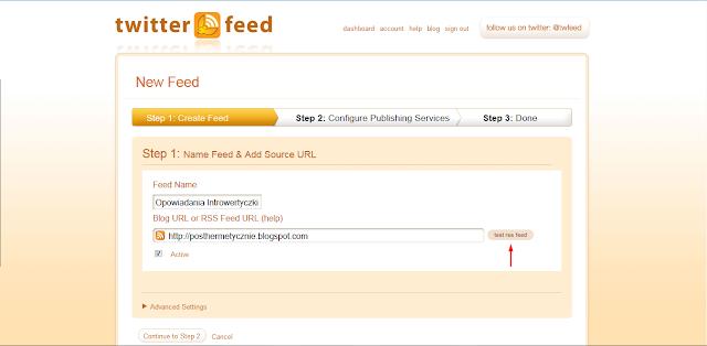 Twitterfeed - Create Feed