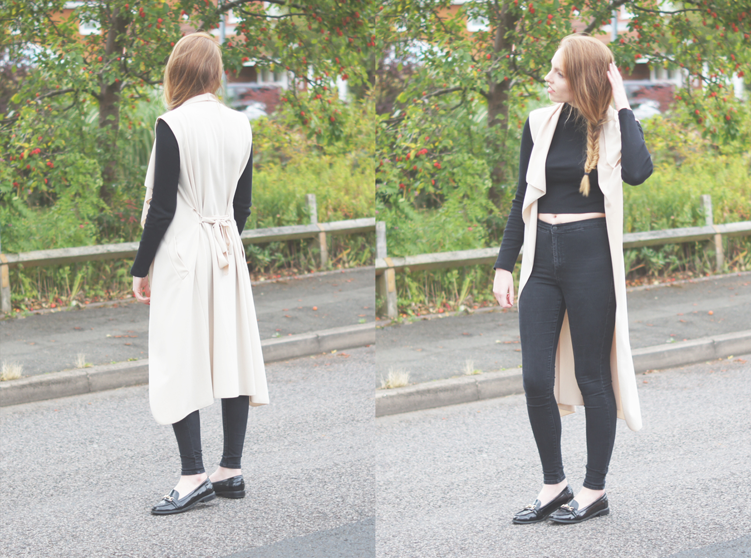 ecru sleeveless waterfall coat