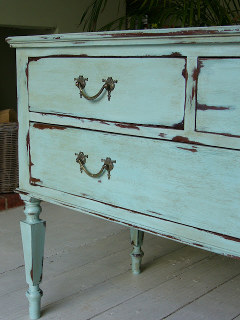 turquoise chest of drawers, vintage painted furniture, west sussex