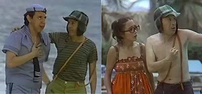 Quico (Carlos Villagrán), Chaves (Roberto Bolaños) e Chiquinha (Maria Antonieta) no episódio de Acapulco